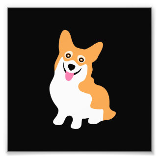 Cute Little Smiling Corgi Puppy Photo Print