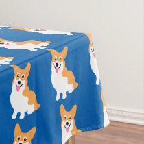 Cute Little Smiling Corgi Puppy Tablecloth