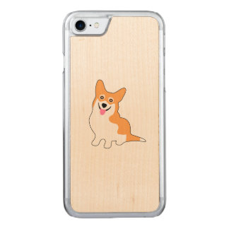 Cute Little Smiling Corgie Puppy Carved iPhone 8/7 Case