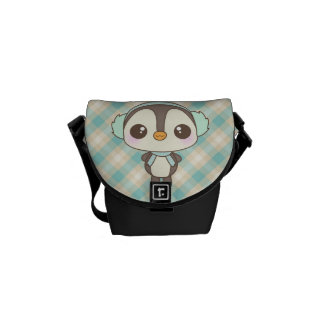 cute little snow day penguin cartoon messenger bags
