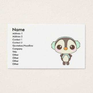 cute little snow day penguin cartoon business card