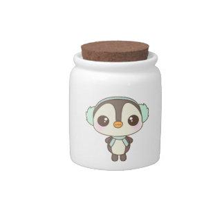 cute little snow day penguin cartoon candy jar
