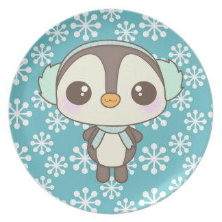 cute little snow day penguin cartoon dinner plate