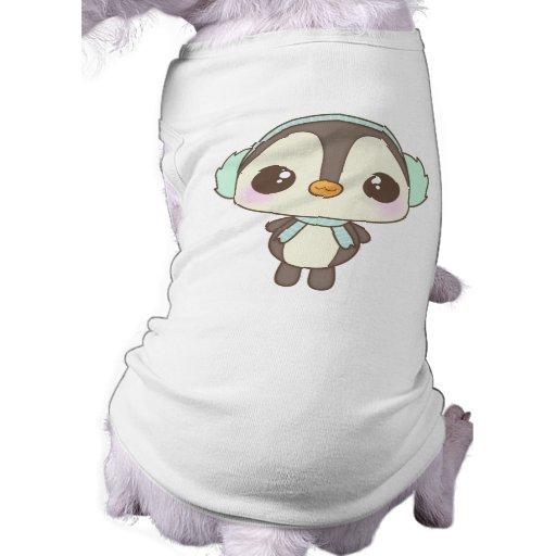 cute little snow day penguin cartoon doggie t-shirt