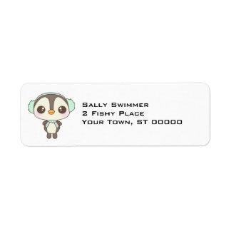 cute little snow day penguin cartoon custom return address label