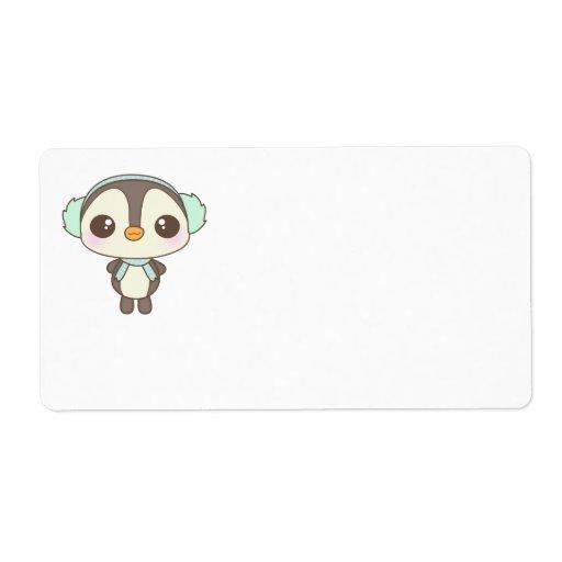 cute little snow day penguin cartoon custom shipping label