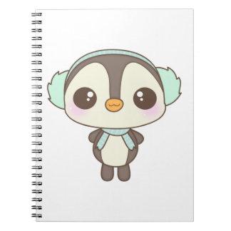 cute little snow day penguin cartoon spiral note book