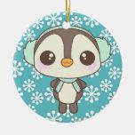 cute little snow day penguin cartoon christmas tree ornaments