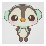 cute little snow day penguin cartoon posters