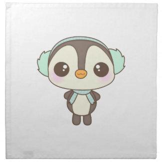 cute little snow day penguin cartoon printed napkin