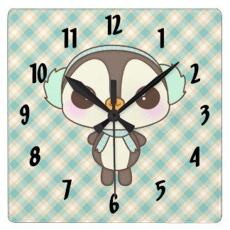 cute little snow day penguin cartoon square wall clock