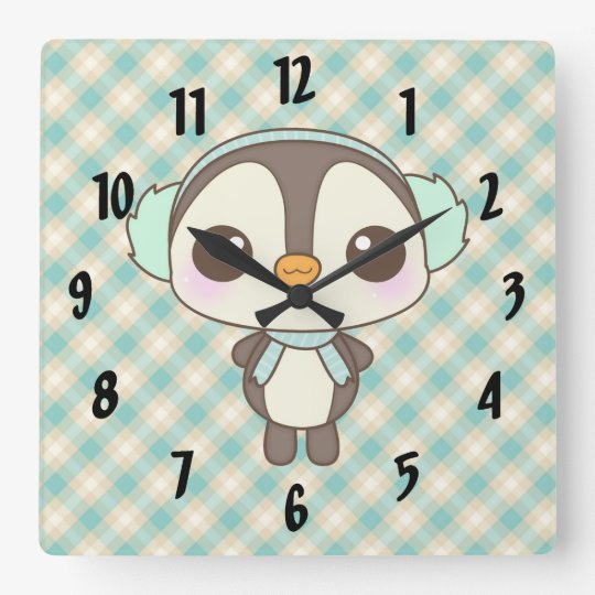 cute little snow day penguin cartoon square wall clock