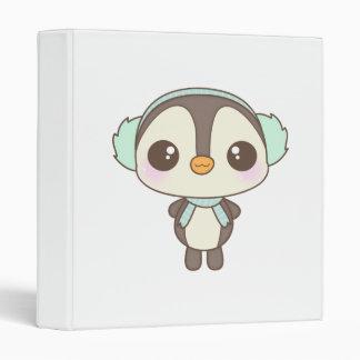 cute little snow day penguin cartoon vinyl binders