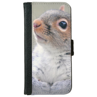 Cute Little Soft and Fluffy Gray Squirrel iPhone 6 Wallet Case