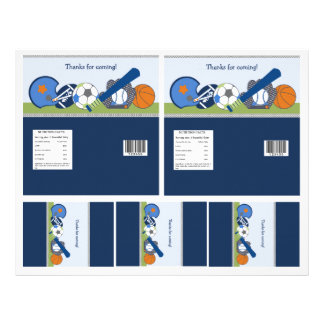 Cute Little Sports Player Candy Bar Labels 2 sizes Flyer