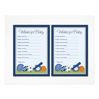 """Cute Little Sports Player """"Wishes for Baby"""" notes Flyer"""