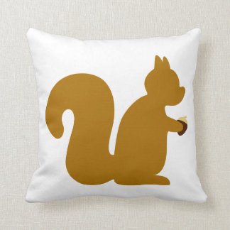 Cute little squirrel with nut throw pillows
