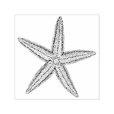 Beach Themed Cute Little Starfish Beach Wedding Invitation Self-inking Stamp