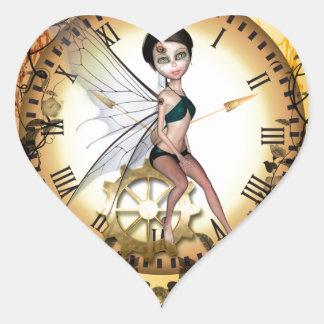 Cute little steampunk fairy heart sticker