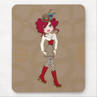 Cute Little Steampunk Lady with Curly Red Hair Mouse Pad