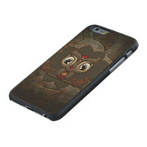Cute little steampunk owl carved maple iPhone 6 case