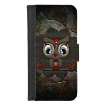 Cute little steampunk owl iPhone 8/7 wallet case