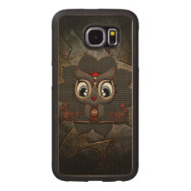 Cute little steampunk owl wood phone case