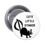 Cute Little Stinker Skunk Print Art Graphic Button