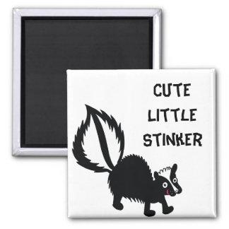 Cute Little Stinker Skunk Printed Art Design 2 Inch Square Magnet