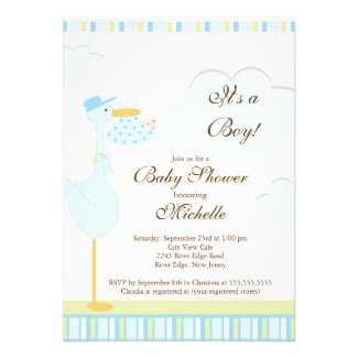 Cute Little Stork Boy Baby Shower Invitation