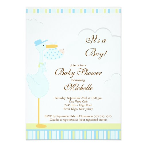 Cute little stork boy baby shower invitation 5 x 7 for Baby shower stork decoration