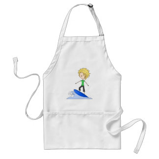Cute Little Surfer Cartoon Kid on a Wave Adult Apron