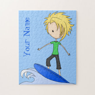 Cute Little Surfer Cartoon Kid on a Wave Jigsaw Puzzle