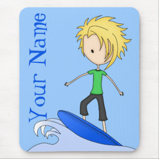 Cute Little Surfer Cartoon Kid on a Wave Mouse Pad