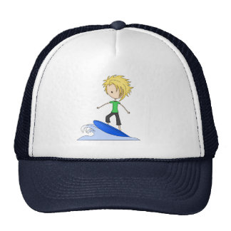 Cute Little Surfer Cartoon Kid on a Wave Trucker Hat