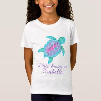 Cute little swimmer girls pink aqua turtle t-shirt