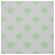 cute little teapots on gray pattern fabric