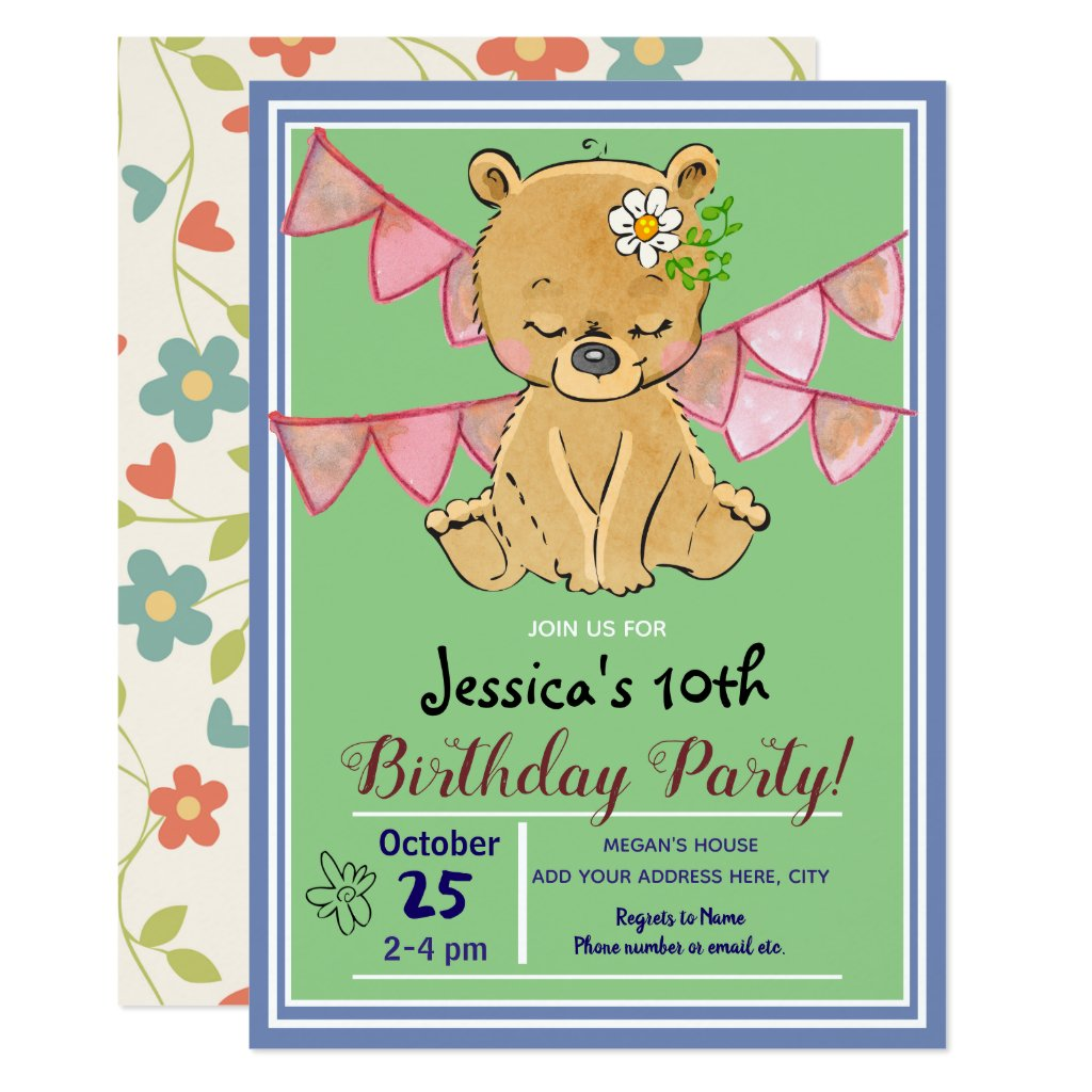Cute Little Teddy Bear Birthday Party Invitations