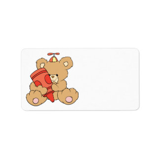 cute little teddy bear with red crayon address label