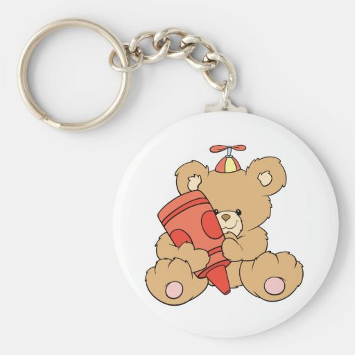 cute little teddy bear with red crayon basic round button keychain