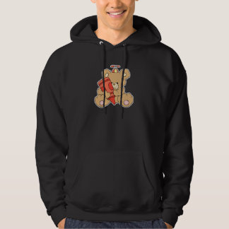 cute little teddy bear with red crayon hoodie