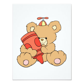 cute little teddy bear with red crayon personalized invitation