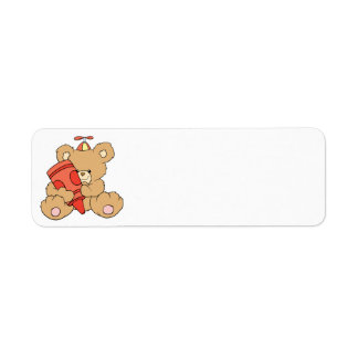 cute little teddy bear with red crayon return address label