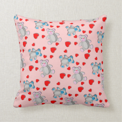 Cute Little Teddy Bears and Hearts Pattern Throw Pillow