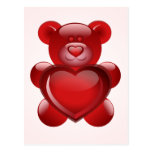cute little teddy with red heart post card