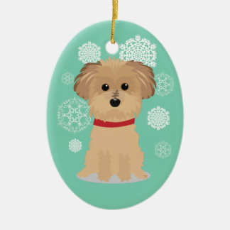 Cute little Terrier with Snowflakes Christmas Tree Ornaments