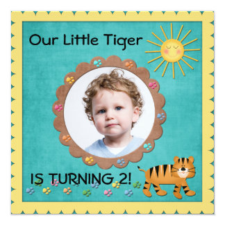 Cute Little Tiger Birthday Party Invitation