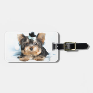 Cute Little Tiny Yorkie Pup design Bag Tag
