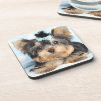Cute Little Tiny Yorkie Pup design Drink Coaster