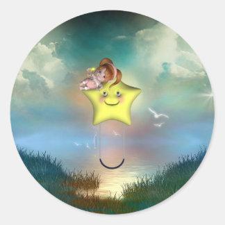 Cute little toon tot baby fairys 1 classic round sticker